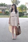Light-pink-h-m-dress-brown-coach-bag-beige-threadsence-cardigan