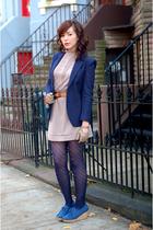 blue thrifted blazer - beige vintage dress - blue 8020 shoes - beige Vintage Pie