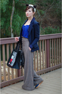 Blue-blouse-blue-blazer-blue-sweater-brown-pants
