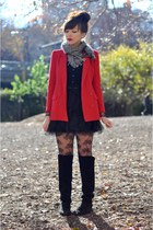 black vintage boots - ruby red vintage blazer - black Accessorize tights