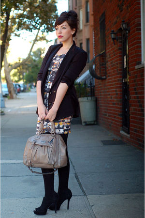 beige coach bag - black Nine West shoes - rachel rachel roy dress