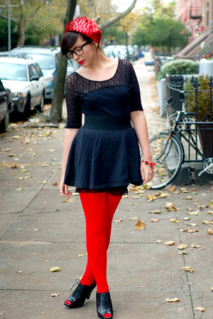 red hat - black shoes - black dress - red tights