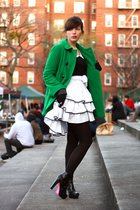 black Lux blouse - black aliceolivia for Payless shoes - green Zara coat