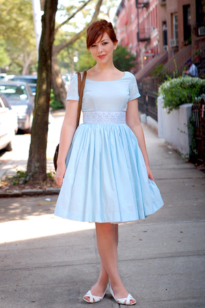 blue vintage vintage dress - white wedges Payless shoes