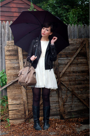 white modcloth dress - black vintage boots - black coach jacket - black tights