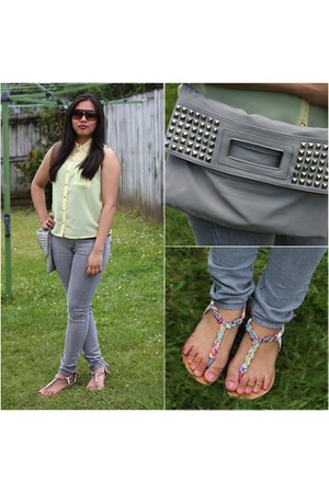 lime green sandals - yellow sandals - bubble gum sandals - heather gray jeans