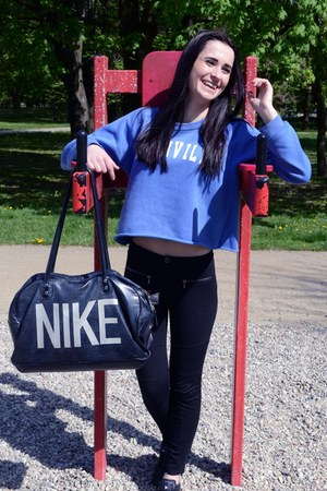 blue Sinsay blouse - black Bershka leggings - black nike bag