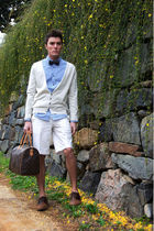 blue Topman shirt - brown UO shoes - white ax shorts - beige Topman cardigan