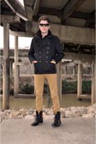 banana republic jacket - Topman boots - Burberry shirt - Topman pants