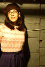 Pink-thrifted-vintage-sweater-blue-vintage-skirt-gray-american-apparel-tight