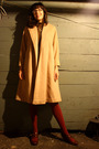 Beige-vintage-coat-brown-thrifted-vintage-dress-red-american-apparel-tights-
