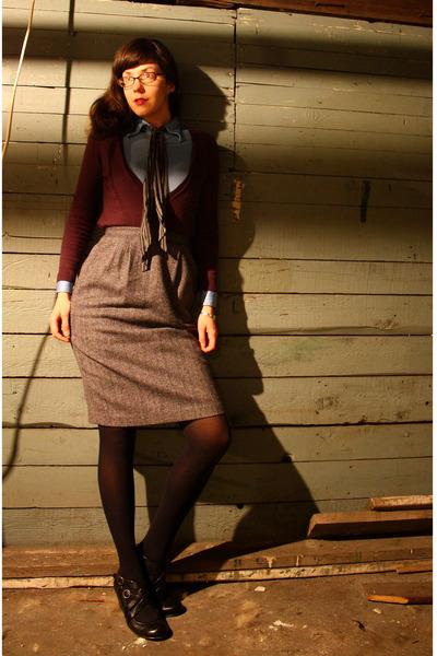 purple Anne Taylor Loft Sale sweater - blue vintage blouse - black Target tie -