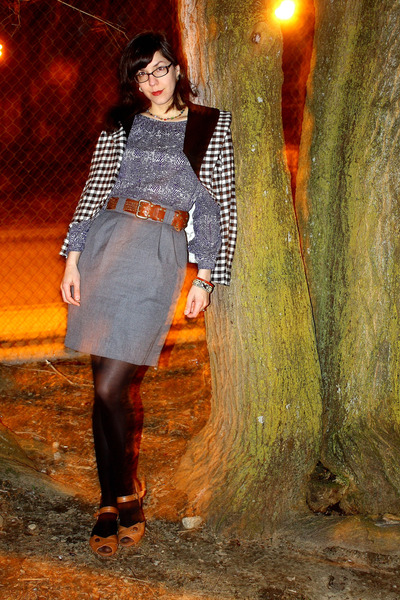 black vintage jacket - blue thrifted blouse - gray thrifted skirt - brown thrift