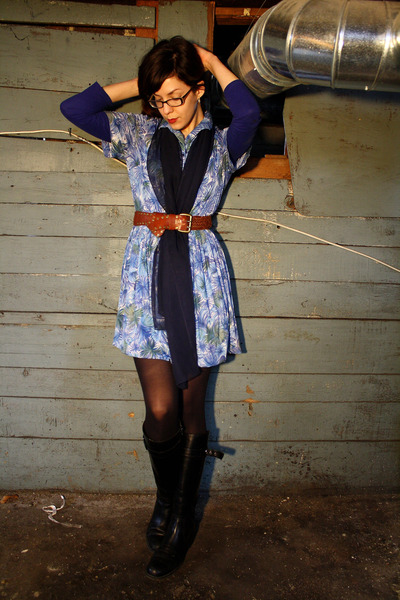 blue thrifted vintage dress - black Stonefly boots