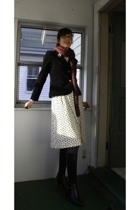 scarf - kohls blazer - vintage dress - American Apparel tights - Sufini boots -