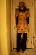 gold vintage dress - blue hand-me-down jeans - yellow Goodwill shoes - black Tar