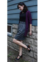 thrifted skirt - Hanes skirt - Anthropologie sweater - Clarks shoes - gift acces