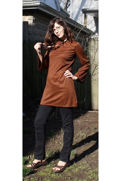 brown tunic vintage top - brown Reaction shoes - black straight-legged Gap pants