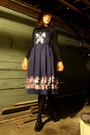 Blue-vintage-dress-purple-anthro-sweater-purple-steve-and-barrys-accessories