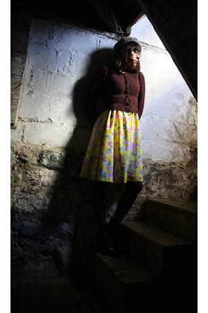 purple Anthropologie sweater - yellow Qs Daydream Vintage dress - gray H&M hat -