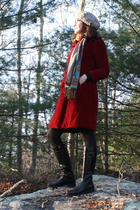 red vintage coat - blue vintage dress - black Stonefly boots - black Target shir