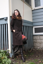 thrifted coat - American Apparel tights - an Italian market boots - H&M dress -