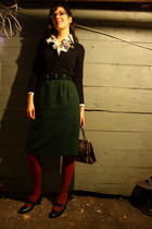 green thrifted vintage skirt - red Am Apparel tights - black Clarks shoes - blue