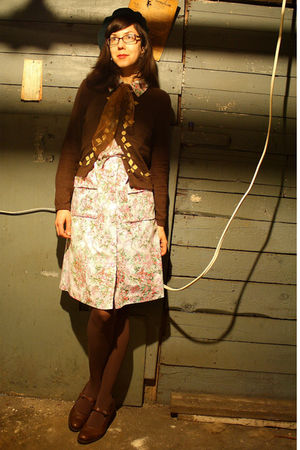 pink thrifted vintage dress - brown Anthro sweater - green La France Vintage hat