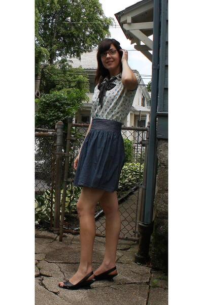 vintage blouse - Anthropologie skirt - Target scarf - franco sarti shoes - gift