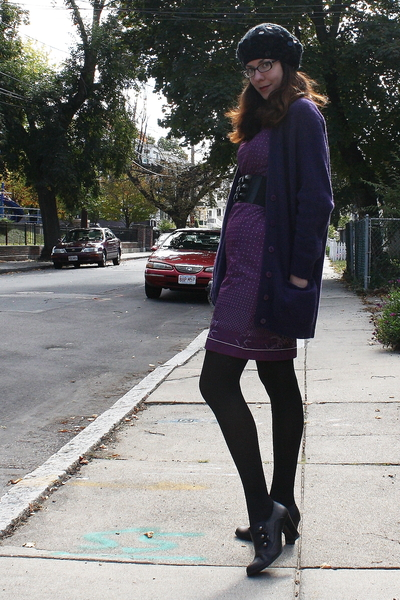 black Target boots - purple vintage dress - black H&M hat