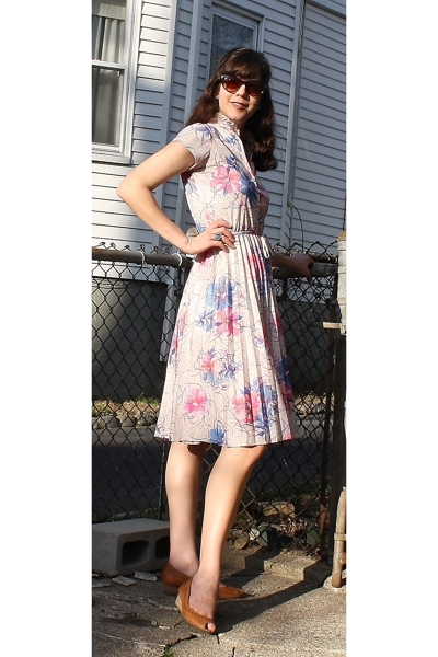 vintage dress - thrifted accessories - shoes