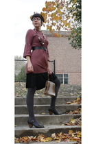 gift sweater - thrifted belt - thrifted skirt - thrifted purse - American Appare