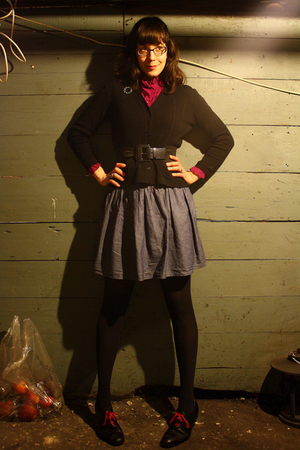 red thrifted vintage blouse - black hand-me-down cardigan - black Tj Maxx belt -
