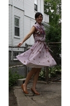 brown DSW shoes - purple vintage dress - purple Anthropologie sweater