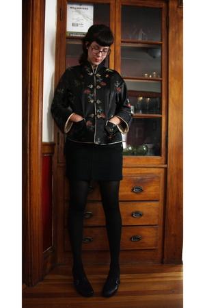 vintage jacket - J-Crew skirt - CVS tights - Clarks shoes - Marshalls shirt - gi