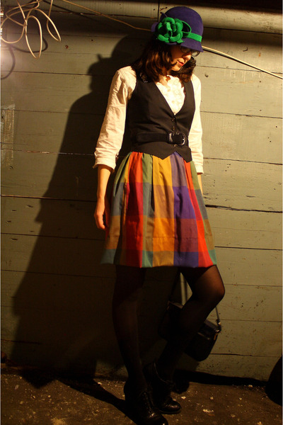 black thrifted vintage coat - black born shoes - red thrifted skirt - black J Cr