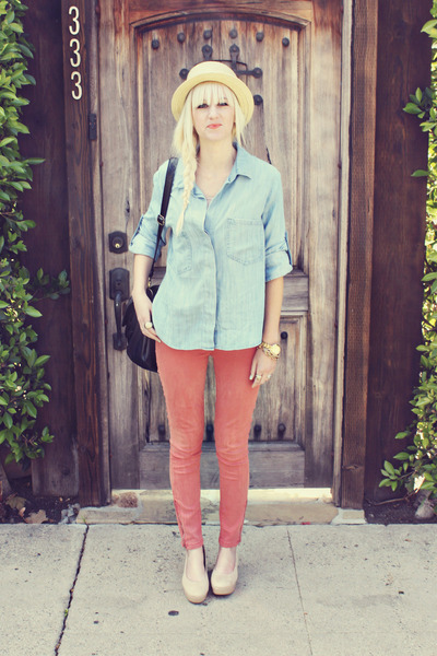 salmon studio 12 20 pants - light blue Anthropologie shirt - beige H&M flats