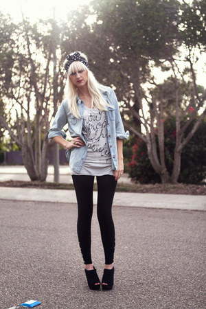 Jedidiah t-shirt - denim Levis shirt - headband American Apparel accessories