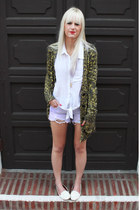 white Aldo loafers - olive green Urban Outfitters sweater - white H&M shirt