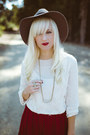 Crimson-anthropologie-skirt-silver-raven-lily-necklace