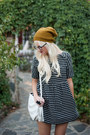 Black-polkadot-anthropologie-dress-mustard-urban-outfitters-hat