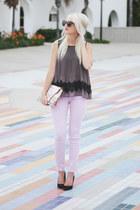 gray blouse - light purple ankle AG jeans - black Karen Walker sunglasses