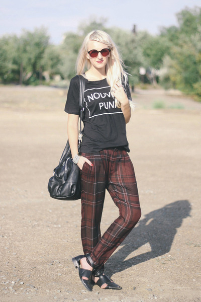 black Choies shoes - dark brown Epokhe sunglasses - maroon Zara pants