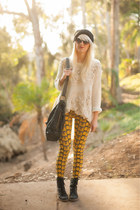 black Urban Outfitters hat - ivory free people sweater - gold Afends leggings