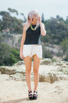 yellow 31 Bits necklace - ivory Zara shorts - black faux leather ASTR top