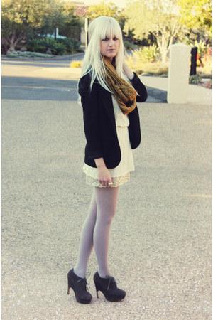 free people dress - Dolce Vita shoes - vintage blazer - scarf - vintage blouse