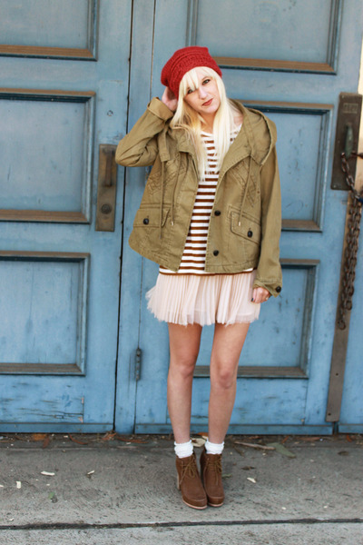 nude free people skirt - brown Dolce Vita boots - olive green hei hei jacket