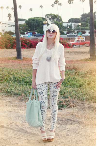 ivory free people sweater - off white printed pacific sunwear jeans