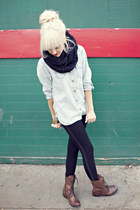 light blue Levis shirt - black Forever21 leggings - black nixon scarf