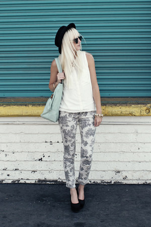 silver Target pants - black thrifted hat - white H&M shirt - black H&M heels